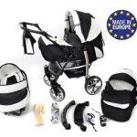 Baby-Sportive-Landau-pour-bb-avec-roues-pivotables-Sige-Auto-Poussette-Systme-3en1-incluant-sac--langer-et-protection-pluie-et-moustique-Noir-et-Blanc-0