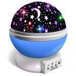 Veilleuse-Enfant-Lampe-Projecteur-360Rotation-RomantiqueVeilleuse-Bb-toiles-Lampes-de-Chevet-Lampes-dambiance4-LED-8-Modes-dclairage-2-Modes-de-Charge-Bleu-0